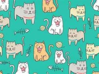 无缝模式可爱猫咪卡通与手绘风格矢量素材下载