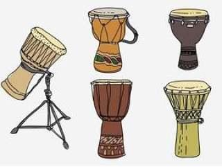 传统的非洲鼓手绘制的矢量图