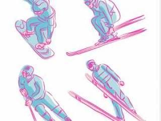 冬季体育奥运手绘符号矢量图