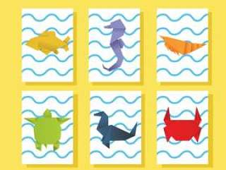 折纸海洋动物矢量包