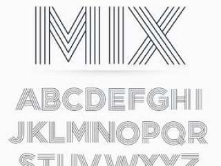 在线条纹样式字母表字母字体