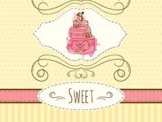 蛋糕插图。矢量手绘卡与水彩溅。甜波尔卡圆点和条纹设计。邀请卡模板。