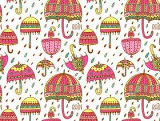 可爱的伞无缝矢量模式