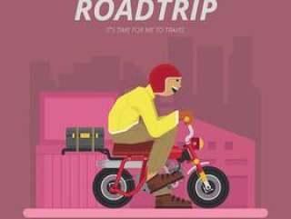 由摩托车插图的公路旅行