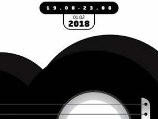 黑色和白色声音的音乐会海报