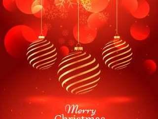 美丽的红色背景与垂悬金色圣诞球