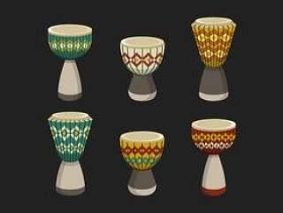 非洲鼓鼓与种族样式传染媒介例证的汇集
