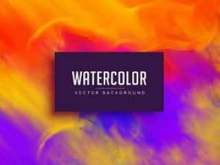与墨水流动效果的明亮的水彩背景