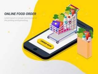 从智能手机的应用程序在线杂货店。