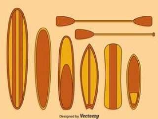 卡通Paddleboard集合矢量