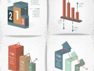 抽象infographics剪影设置了象