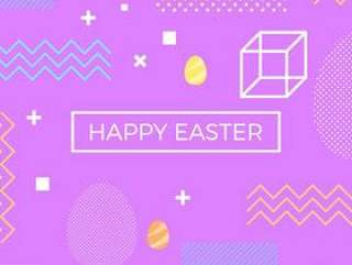 复活节快乐孟菲斯风格矢量背景