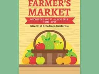 农民' s市场传单矢量模板