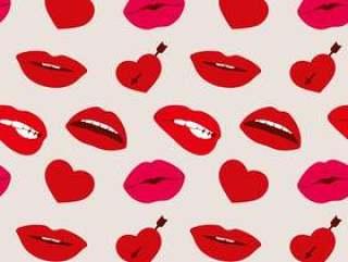 红色女人的嘴唇和心向量无缝模式