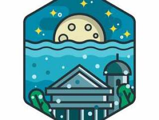 亚特兰蒂斯美丽的城市徽章