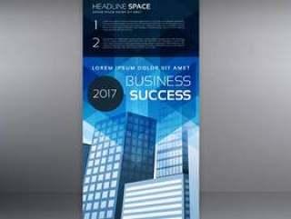 蓝色垂直卷起横幅模板设计为您的业务p
