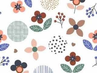 几何花卉t圆点,线无缝模式