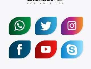 圆形社交媒体集合