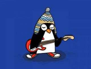 企鹅吉他手矢量