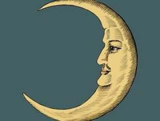 新月形月亮的手拉的剪影
