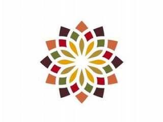传统的亚洲多彩花卉图案标志设计