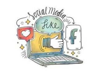 笔记本电脑,脸谱,讲话泡泡和社交媒体的水彩插图