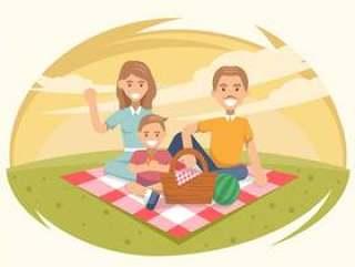 20世纪50年代家庭野餐矢量