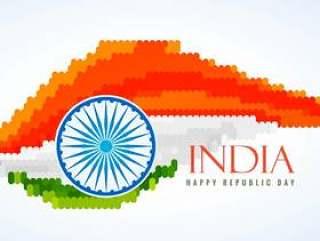 印度创意矢量设计插画的国旗
