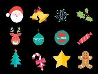 扁平风格圣诞图标一组