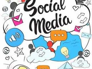 社交媒体通信概念