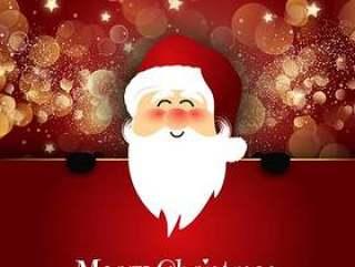 可爱的圣诞老人在景灯背景