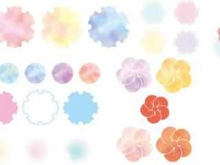 日本风格的水彩风格的部分