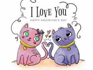 可爱的情侣猫爱上情人节&#x; s天