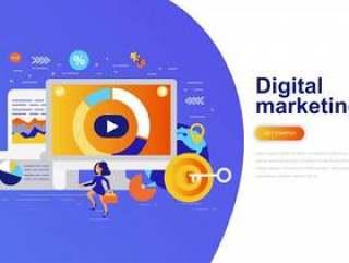 数字营销现代平概念web横幅网页模板矢量素材下载