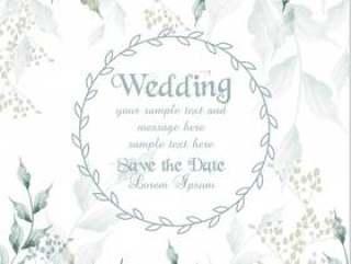 婚礼卡圆框水彩