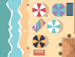 空中海滩视图平插图矢量
