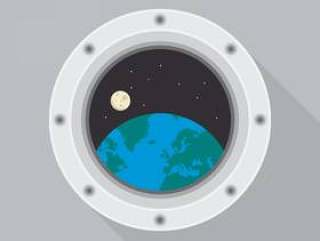 圆的太空飞船舷窗与地球视图矢量