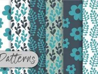 蓝色花卉图案集