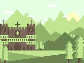 修道院景观图矢量#2