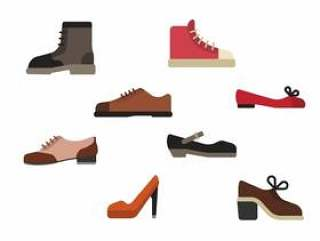 平的鞋子向量