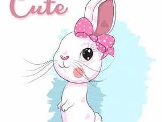 手拉逗人喜爱的小兔子女孩的动画片