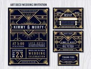 伟大的盖茨比装饰艺术婚礼邀请设计模板。包括