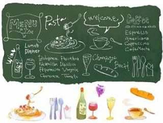 咖啡厅风格的插图的粉笔艺术