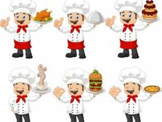 Cartoon funny chef collection set