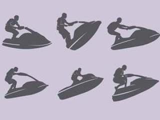 喷气滑雪剪影集的插图