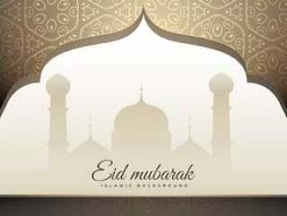 美丽的eid穆巴拉克问候与清真寺形状和伊斯兰教patt