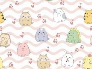 无缝模式可爱的动物卡通