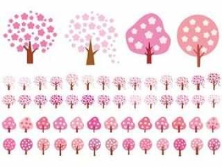 樱花樱花樱花樱桃树简单的图标背景