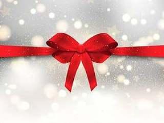 圣诞节背景与光泽红色蝴蝶结