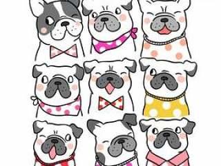 画肖像可爱的哈巴狗和法国斗牛犬涂鸦风格